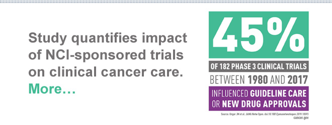 Study quantifies impact of NCI-sponsored trials on clinical cancer care. More…