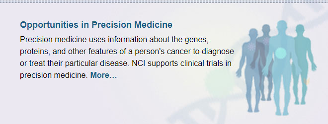 Opportunities in Precision Medicine: Precision medicine uses information about the genes, proteins, and other features of a person's cancer to diagnose or treat their particular disease. NCI supports clinical trials in precision medicine.